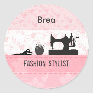 Fashion Stylist  Retro Vintage  Machine Round Sticker