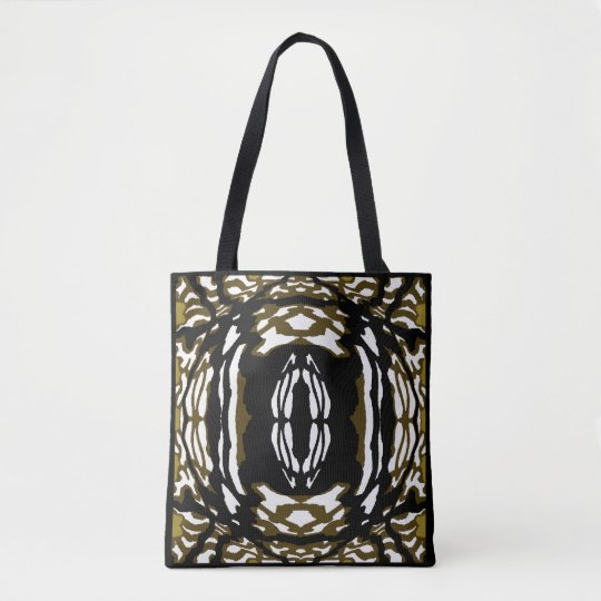 Fashion Tote Bag - Pattern-Brown/White/Black