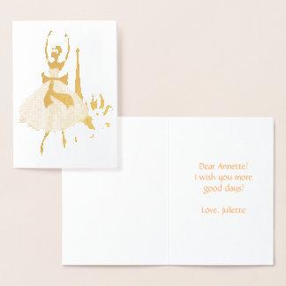 Fashion vintage stylish illustration. Ballerina Foil Card
