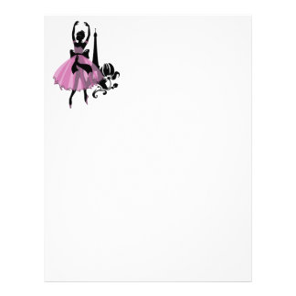 Fashion vintage stylish illustration. Ballerina Letterhead