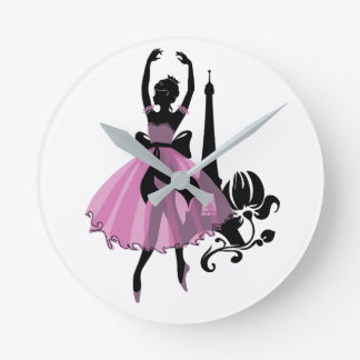Fashion vintage stylish illustration. Ballerina Round Clock