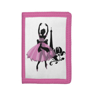 Fashion vintage stylish illustration. Ballerina Trifold Wallets