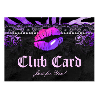 Fashion VIP Club Card Lace Lips Zebra Purple Pink Business Card Templates