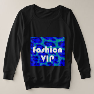 Fashion VIP on Blue Leopard Background Black Plus Size Sweatshirt