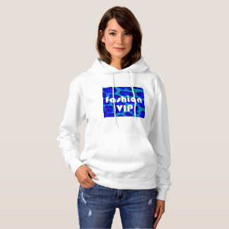 Fashion VIP on Blue Leopard Background Hoodie