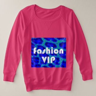 Fashion VIP on Blue Leopard Background Raspberry Plus Size Sweatshirt