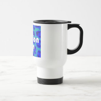 Fashion VIP on Blue Leopard Background Travel Mug