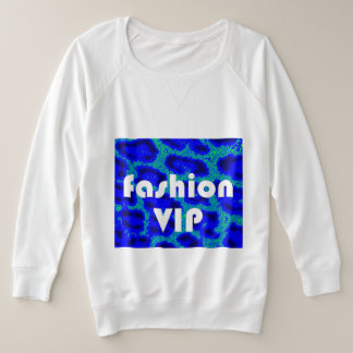 Fashion VIP on Blue Leopard Background White Plus Size Sweatshirt