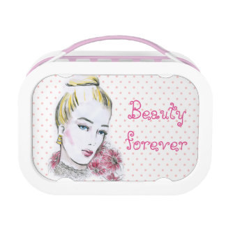 Fashion wedding watercolor illustration lunch box