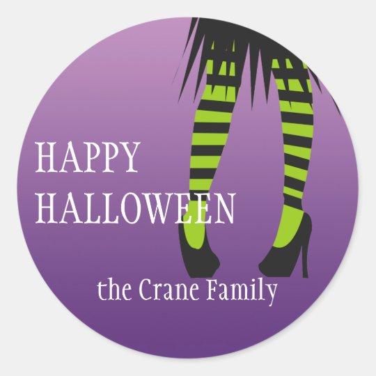 Fashion witch costume stripe legs Halloween label