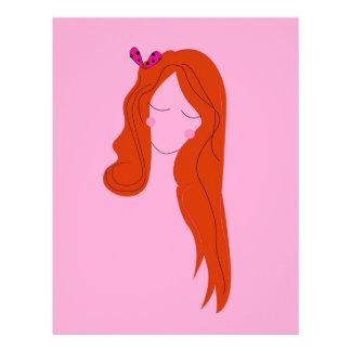 Fashion woman pink with long hair letterhead