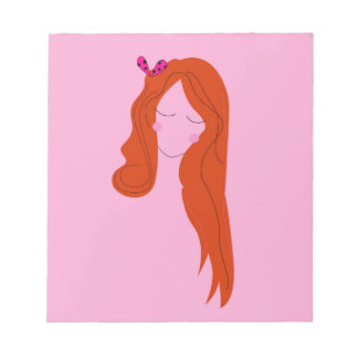 Fashion woman pink with long hair notepad