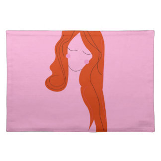 Fashion woman pink with long hair placemat