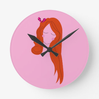 Fashion woman pink with long hair round clock