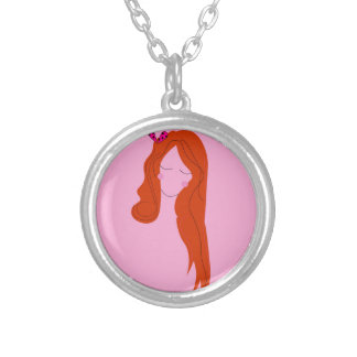 Fashion woman pink with long hair silver plated necklace