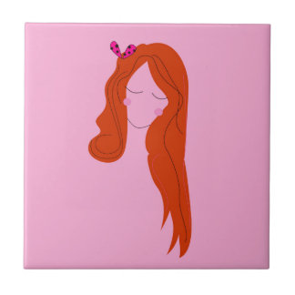 Fashion woman pink with long hair tile