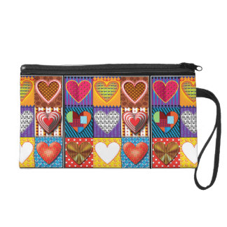 Fashion wristlet bag multi coloured hearts