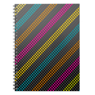 Fashionable and cool colourful dots and stripes spiral notebook