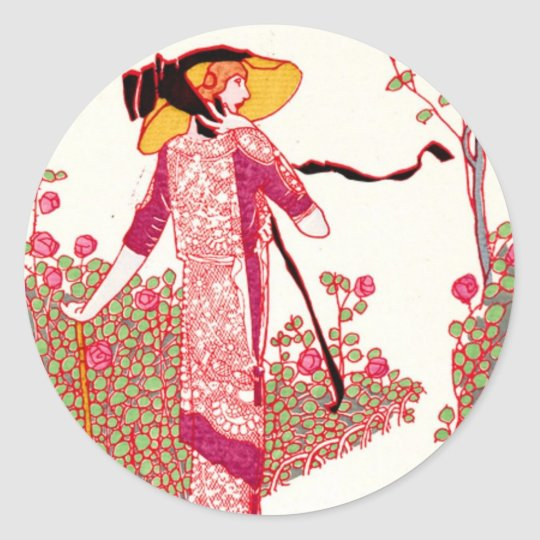 Fashionable Art Deco Lady in a Rose Garden Classic Round Sticker