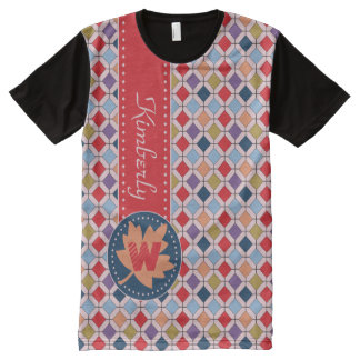 Fashionable Autumn Fall Geometric Pattern Monogram All-Over-Print T-Shirt