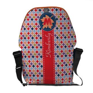 Fashionable Autumn Fall Geometric Pattern Monogram Courier Bags