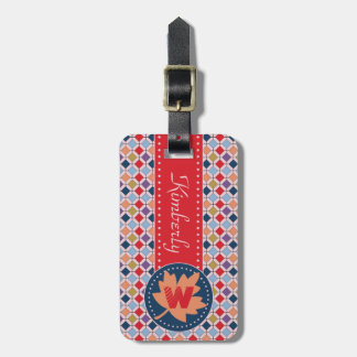 Fashionable Autumn Fall Geometric Pattern Monogram Luggage Tag