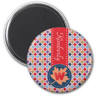 Fashionable Autumn Fall Geometric Pattern Monogram Magnet