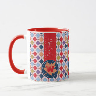 Fashionable Autumn Fall Geometric Pattern Monogram Mug
