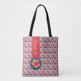 Fashionable Autumn Fall Geometric Pattern Monogram Tote Bag