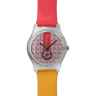 Fashionable Autumn Fall Geometric Pattern Monogram Wristwatch