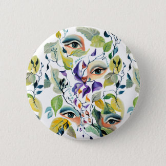 Fashionable chic painted  eyes 2 inch round button