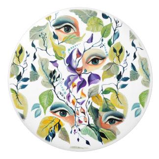 Fashionable chic painted  eyes ceramic knob