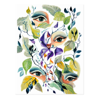 Fashionable chic painted  eyes postcard