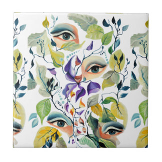 Fashionable chic painted  eyes tile