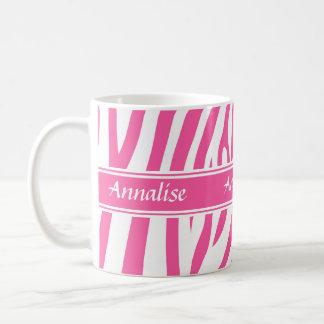 Fashionable customizable Pink white zebra pattern Coffee Mug
