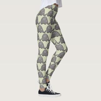 Fashionable Ethnic Spiral Elephants Pattern Leggings