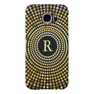 Fashionable Gold Gradient Sparkle Pattern Monogram Samsung Galaxy S6 Cases