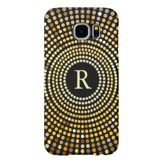 Fashionable Gold Gradient Sparkle Pattern Monogram Samsung Galaxy S6 Cases
