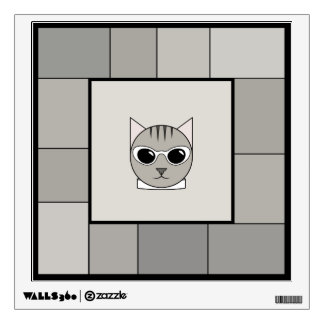 Fashionable Gray Tabby Face Wall Decal