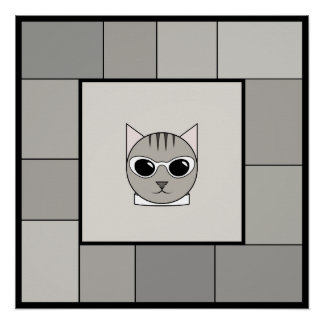 Fashionable Gray Tabby Wall Poster