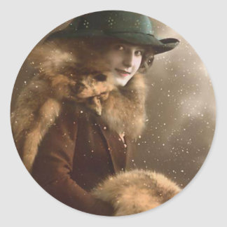 Fashionable in Fur Classic Round Sticker