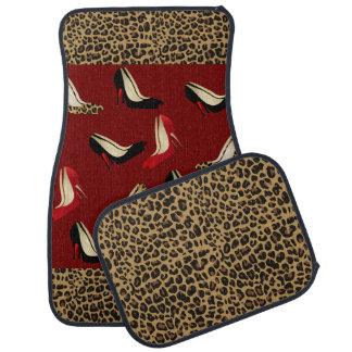 Fashionable Jaguar and Stiletto Print Car Mat Set