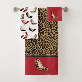 Fashionable Jaguar Stiletto Heels Bath Towel Set