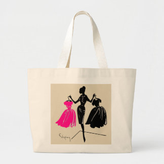 Fashionable lady shopping dresses, tote bag
