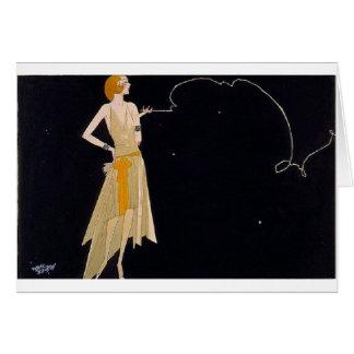 Fashionable Lady Smoking, Greeting Card