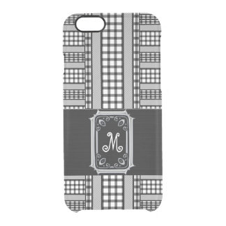 Fashionable Monogrammed Classic Black and White Clear iPhone 6/6S Case