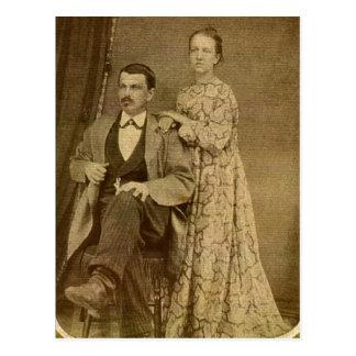 Fashionable Newlywed Couple circa 1870 Postcard