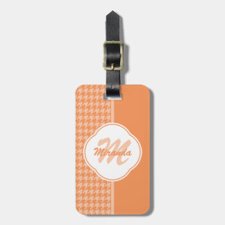 Fashionable Orange Houndstooth Monogram and Name Bag Tag