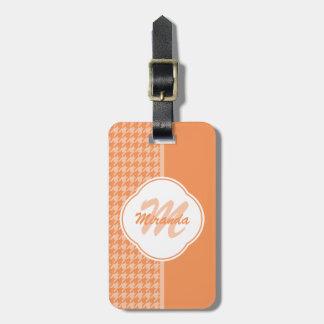 Fashionable Orange Houndstooth Monogram and Name Luggage Tag