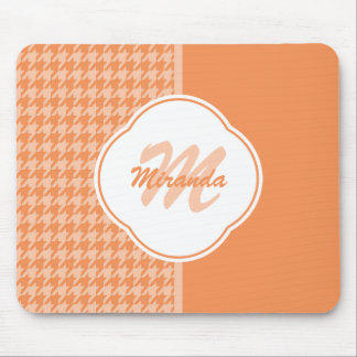 Fashionable Orange Houndstooth Monogram and Name Mouse Pad
